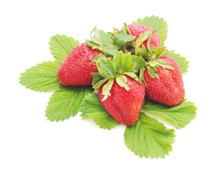 Ripe strawberries with leaves isolated on white background. Stock fotó