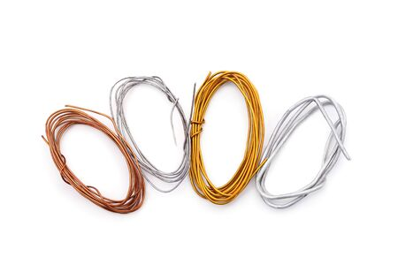 Four different wires  isolated on a white background. Stock Photo
