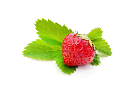 Ripe strawberry with leaves isolated on white background.