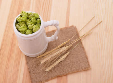 Hops and barley in a cup on burlap and wooden boards. Stock Photo