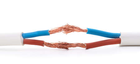 Four different wires isolated on a white background.