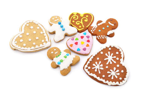 Christmas gingerbread cookies isolated on a white background.