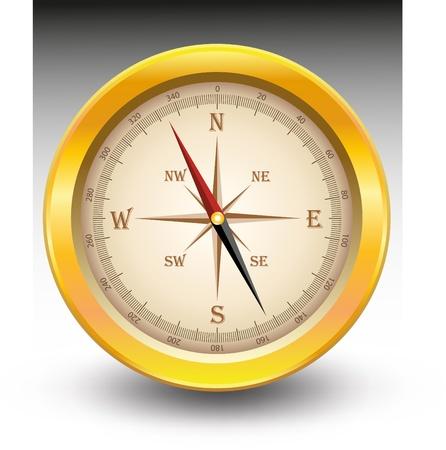 map compass: Gold compass Illustration