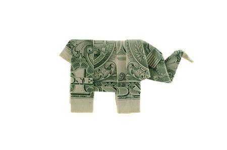 Paper elephant origami of one dollar isolated Stock Photo