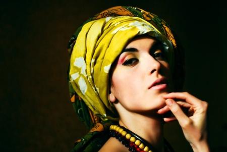 Sensual beautiful fashion lady in the shadows