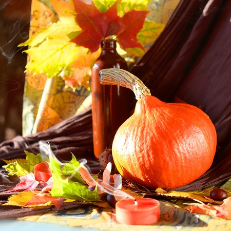 Still life of pumpkins and yellow leaves Stock Photo