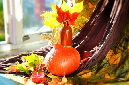 Still life of pumpkins and leaves on a background of old windows