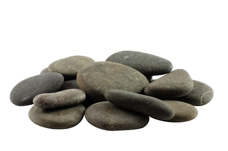 Heap of gray stones isolated on white background