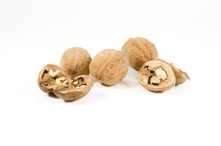 Ripe walnuts isolated on a white background Stock Photo