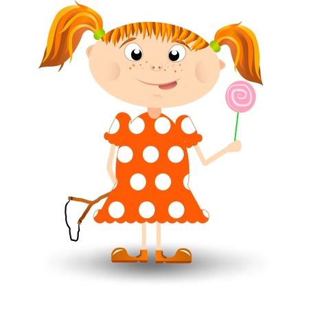 freckle: Little cute redhead girl with a lollipop
