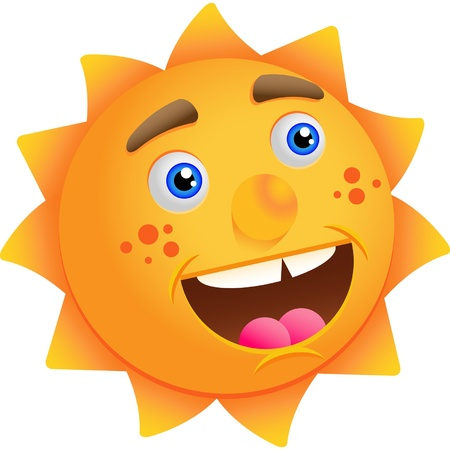 Funny cartoon sun isolated on a white background