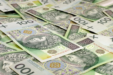 economize: Background of the polish national currency zloty Stock Photo