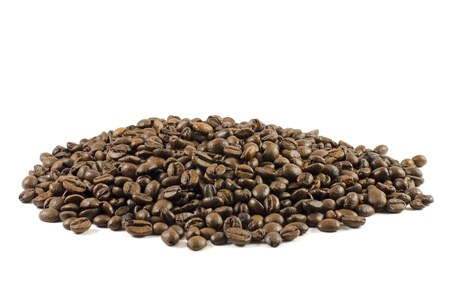 Handful of coffee beans isolated on white background Stock Photo