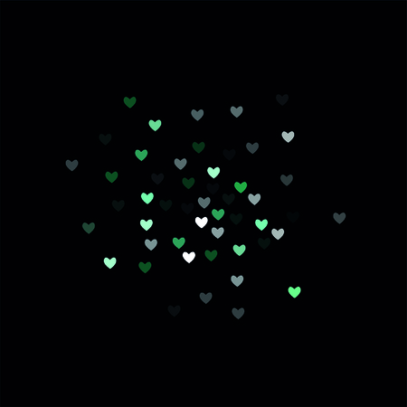 Beautiful Mint Confetti Hearts Falling on Black Background. Invitation Template Background Design, Greeting Card, Poster. Valentine Day. Vector illustration