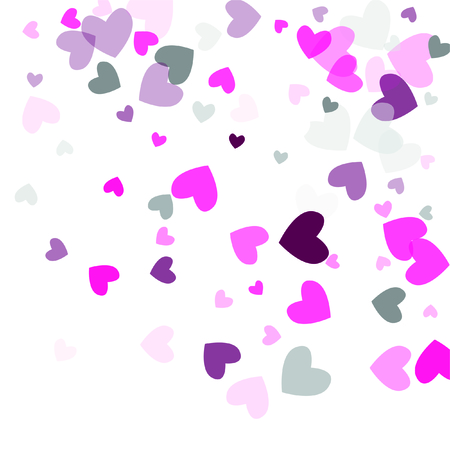 Beautiful Pink Confetti Hearts Falling on White Background. Invitation Template Background Design, Greeting Card, Poster. Valentine Day. Vector illustration Illustration