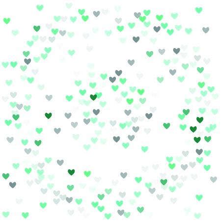 Beautiful Mint Confetti Hearts Falling On White Background Invitation