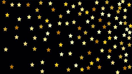 many random falling stars confetti on dark sky background