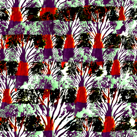 canvas print: Seamless Hand Drawn Watercolor Pattern with trees and stripes. Bright Design Wallpaper, Tile, Textile, Fabric, Wrapping, Packaging, Camouflage Print. Abstract Background. Ink Brush Pattern for Fabric Stock Photo