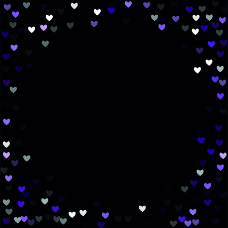 Beautiful Violet Confetti Hearts Falling on Black Background. Invitation Template Background Design, Greeting Card, Poster. Valentine Day. Vector illustration