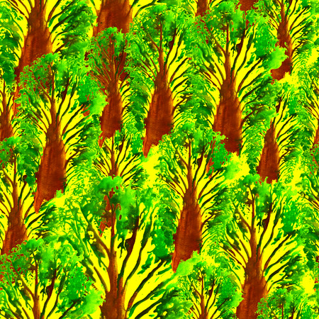 Seamless Hand Drawn Watercolor Pattern with Forest of Baobab. Bright Design for Wallpaper, Textile, Fabric, Wrapping, Packaging, Camouflage Print. Abstract Background. Ink Brush Pattern for Fabric