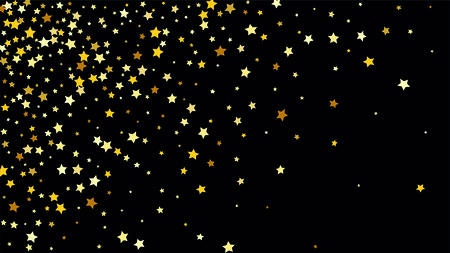 Many random falling stars confetti on dark sky background. Invitation background. Banner, greeting card, Christmas and new year card, postcard, packaging, textile print. Beautiful night sky Illustration