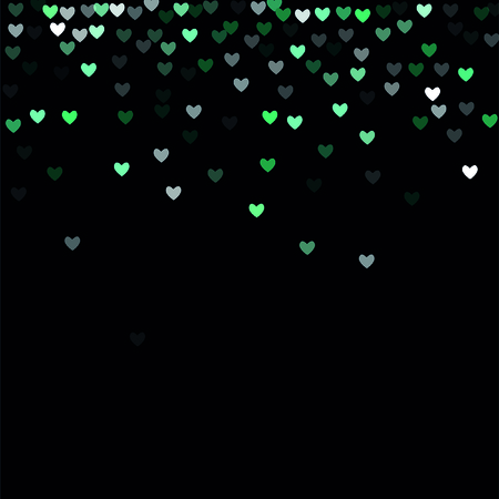 Beautiful Mint Confetti Hearts Falling on Black Background. Invitation Template Background Design, Greeting Card, Poster. Illustration
