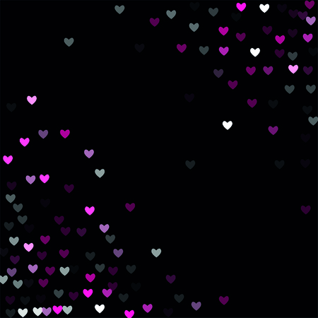 Beautiful Pink Confetti Hearts Falling on Black Background. Invitation Template Background Design, Greeting Card, Poster. Valentine Day. Vector illustration Illusztráció