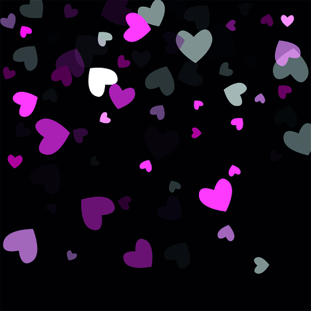 Beautiful Pink Confetti Hearts Falling on Black Background. Invitation Template Background Design, Greeting Card, Poster. Valentine Day. Vector illustration Illustration