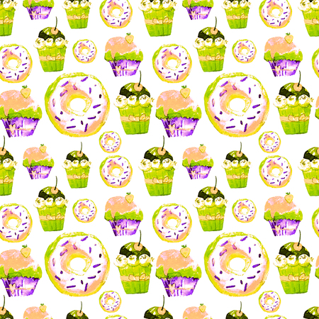Sweet Seamless Pattern with Cakes, Donuts and Ice-cream. Appetizing Background for Design of Menu, Invitations, Pages of a Cookbook. Wonderful Print for Wrapping Paper, Fabric, Tiles, Wallpaper