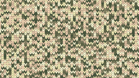 Knitting Melange Texture. Winter Sweater Holiday Design. Knit Background with Empty Space for Text. Vector Knitting Camouflage Pattern