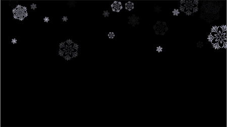 Snowflakes Winter Texture. Element of Design with Snow for a Postcard, Invitation Card, Banner, Flyer.  Vector Falling Snowflakes on a Blue Winter Background