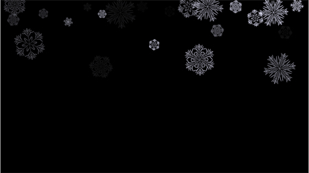Snowflakes Winter Texture. Element of Design with Snow for a Postcard, Invitation Card, Banner, Flyer.  Vector Falling Snowflakes on a Black Winter Texture.