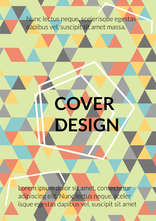 Triangular pattern cover design. Background with Triangle Shapes of Different colors. Cool Template for your design such as Business Brochure, Cover Book, Flyer, Card.