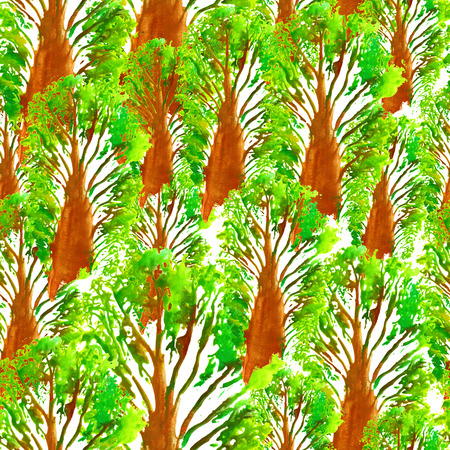Seamless Hand Drawn Watercolor Pattern with Forest of Baobab.