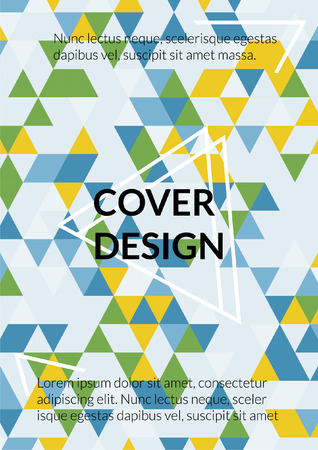 Geometric Cover Design. Background with Triangle Shapes of Different colors Template for Business Broshure, Cover Book, Flyer, Page, Card. Beautiful Template for Your Design