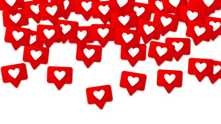 Social Media Red Icons. Likes, Comments and Follow Friends. Social Media 3d Background Ilustração