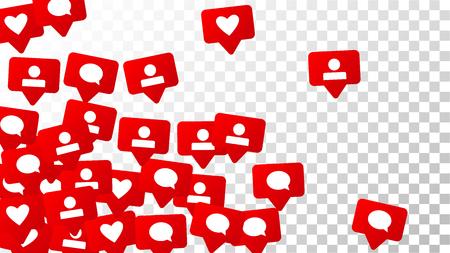 Notifications avec des J'aime, des Suiveurs et des Commentaires. Marketing des médias sociaux. Échelle d'évaluation des éléments de conception pour le Web, la publicité, le marketing, Internet, App, SMM, Concept pour la conception de médias sociaux Banque d'images - 93267439