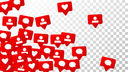 Notifications with Likes, Followers and Comments. Social Media Marketing.  Rating Scale Elements of Design for Web, Advertisement,  Marketing, Internet,  App, SMM, Concept for Social Media Design