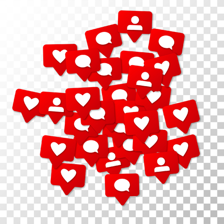 Notifications with Likes, Followers and Comments. Social Media Marketing. Rating Scale Elements of Design for Web, Advertisement, Promotion, Marketing, Internet, CEO Concept for Social Media Design