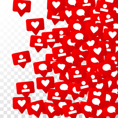 Notifications with Likes, Followers and Comments. Social Media Marketing.  Rating Scale Elements of Design for Web, Advertisement, Promotion, Marketing, Internet,  CEO  Concept for Social Media Design 免版税图像 - 93702826
