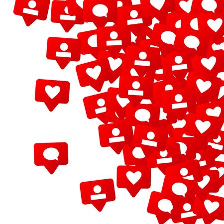 Notifications avec les goûts, les suiveurs et les commentaires. Marketing des médias sociaux. Éléments d'échelle de notation pour la conception Web, publicité, promotion, marketing, Internet et PDG Vecteurs