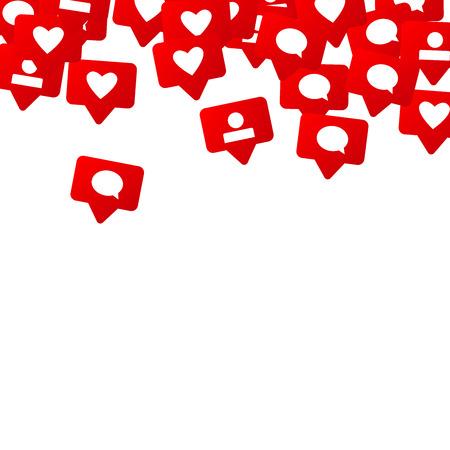 「いいね」、フォロワー、コメントを含む通知。ソーシャルメディアマーケティング。 Web、広告、マーケティング、インターネット、アプリ、SMM、ソーシャルメディアデザインの概念のためのデザインの評価スケール要素 写真素材 - 93702836