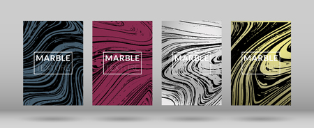 Set of  Covers with Marble Texture. Colorful Fluid. Poster, Brochure, Invitation, Cool Cover, Party Flyers, Business Card, Poster Design, Futurist Title Page. Gradient Vector Marble Texture. Ilustração