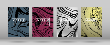 Set of  Covers with Marble Texture. Colorful Fluid. Poster, Brochure, Invitation, Simple Design Presentation, Cover Book, Magazine Cover, Catalog, Announcement. Gradient Vector Marble Texture.