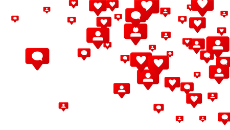 Notifications with Likes, Followers and Comments. Social Media Marketing. Rating Scale Elements of Design for Web, Advertisement, Promotion, Marketing, Internet, Concept for Follow Icon Illustration