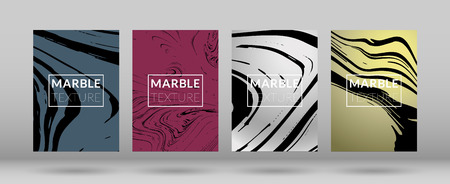 Set of Covers with Marble Texture. Colorful Fluid.