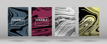 Set of Covers with Marble Texture. Colorful Fluid Gradient Vector Marble Texture.