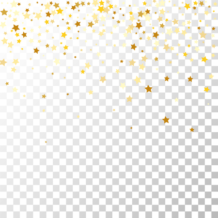 Golden Stars Background. Beautiful Falling Golden Stars Confetti. Abstract Decoration for Party, Birthday Celebrate, Anniversary or Event, Festive. Vector illustration