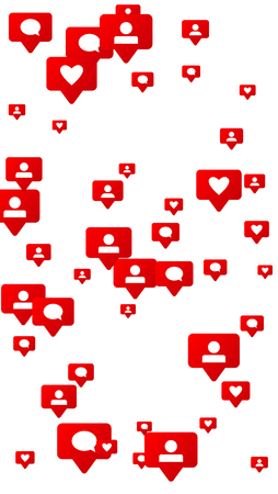 Likes, Followers and Comments Social Media Marketing Rating Scale Elements of Design for Web, Advertisement, Promotion, Marketing, Internet, Concept for Follow Icon Illustration Çizim