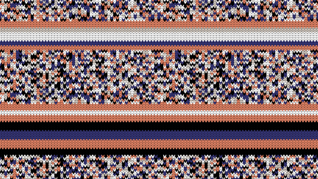 Seamless Knitting Texture. Striped Winter Sweater Holiday Design. Knit Background with Stripes and Empty Space for Text. Vector Illustration. Çizim